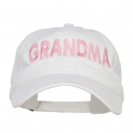 Grandma Embroidered Washed Cap - White