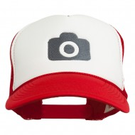 Camera Design Photographer Embroidered Foam Mesh Back Cap - Red White Red