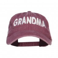 Grandma Embroidered Washed Cap - Maroon