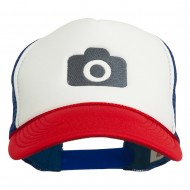 Camera Design Photographer Embroidered Foam Mesh Back Cap - Red White Royal