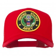 US Army Circular Patched Mesh Cap - Red