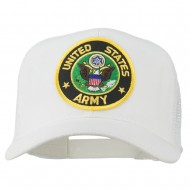 US Army Circular Patched Mesh Cap - White