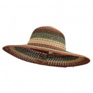Women's Mix Striped Paper Straw Hat - Sunset