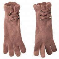Women's Military Straps and Ruffle Cuff Glove - Pink