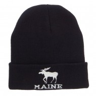 Maine State Moose Embroidered Cuff Beanie - Black
