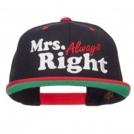 Mrs Always Right Embroidered Snapback - Black Red