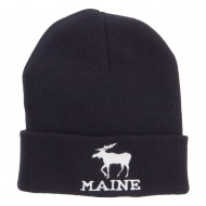 Maine State Moose Embroidered Cuff Beanie - Navy