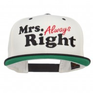 Mrs Always Right Embroidered Snapback - Natural Black
