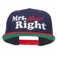 Mrs Always Right Embroidered Snapback - Navy Red