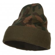 Camo Knit Long Beanie with Cuff - Green