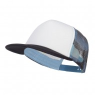 Flat Bill Foam Camo Mesh Trucker Cap - White Blue