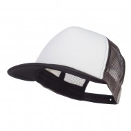Flat Bill Foam Camo Mesh Trucker Cap - White City