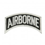 Military Related Text Embroidered Patch - Airborne White
