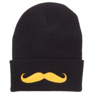 Gold Mustache Embroidered Long Knit Beanie - Black