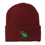Christmas Mistletoe with Frame Embroidered Beanie - Maroon
