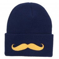 Gold Mustache Embroidered Long Knit Beanie - Navy
