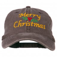 Merry Christmas Mistletoe Embroidered Washed Dyed Cap - Brown