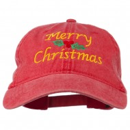 Merry Christmas Mistletoe Embroidered Washed Dyed Cap - Red