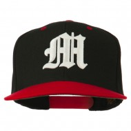 Old English M 3D Embroidered Snapback Cap - Black Red