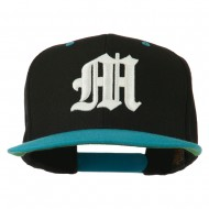 Old English M 3D Embroidered Snapback Cap - Black Teal