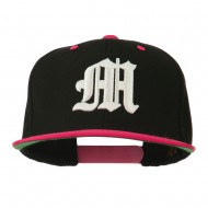 Old English M 3D Embroidered Snapback Cap - Black Pink