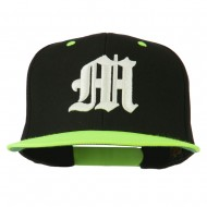 Old English M 3D Embroidered Snapback Cap - Black Neon Yellow