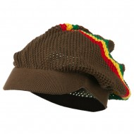 Mesh Rasta Deep Visored Beanie - Brown