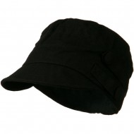 Army Cadet Military Cap with Buttons - Black
