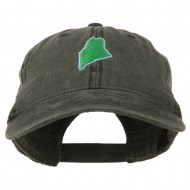 Maine State Map Embroidered Washed Cotton Cap - Black