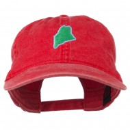 Maine State Map Embroidered Washed Cotton Cap - Red
