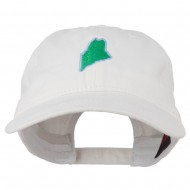 Maine State Map Embroidered Washed Cotton Cap - White