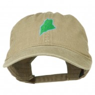 Maine State Map Embroidered Washed Cotton Cap - Khaki