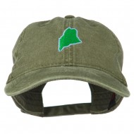 Maine State Map Embroidered Washed Cotton Cap - Olive Green