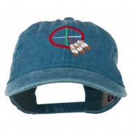 Medicine Wheel Embroidered Washed Cap - Navy