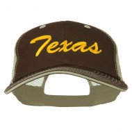 Mid State Texas Big Embroidered Mesh Cap - Brown Beige
