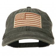 Tan American Flag Embroidered Washed Cap - Black