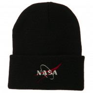 NASA Logo Embroidered Long Knit Beanie - Black