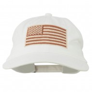Tan American Flag Embroidered Washed Cap - White
