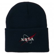 NASA Logo Embroidered Long Knit Beanie - Navy