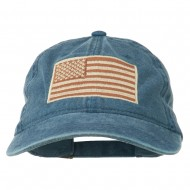 Tan American Flag Embroidered Washed Cap - Navy