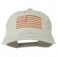 Tan American Flag Embroidered Washed Cap - Stone