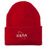 NASA Logo Embroidered Long Knit Beanie - Red