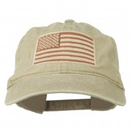 Tan American Flag Embroidered Washed Cap - Khaki