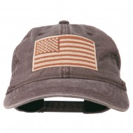 Tan American Flag Embroidered Washed Cap - Brown