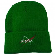 NASA Logo Embroidered Long Knit Beanie - Kelly