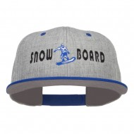 Snowboard Embroidered Heather Snapback Cap - Royal Grey