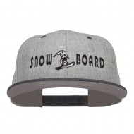 Snowboard Embroidered Heather Snapback Cap - Black Grey