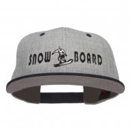 Snowboard Embroidered Heather Snapback Cap - Navy Grey