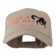 Have a Nice Day Halloween Cat Embroidered Cap - Khaki
