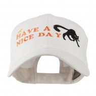 Have a Nice Day Halloween Cat Embroidered Cap - White